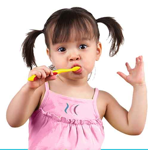 Round Lake Beach Dentist Adorable Child in Pink Shirt Brushing Her Teeth